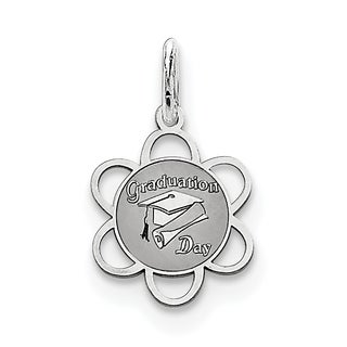 Sterling Silver Graduation Day Disc Charm by Versil with 18 Inch Chain