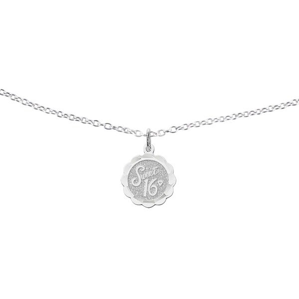 925 Sterling Silver Sweet Sixteen Disc Charm and Pendant