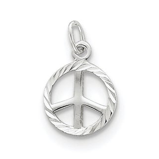 Sterling Silver Diamond-Cut Peace Sign Symbol Charm by Versil with 18 Inch Chain