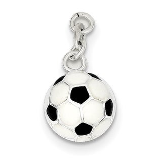 "Sterling Silver Enameled Soccer Ball Charm by Versil with 18"" Chain"
