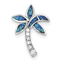 Sterling Silver CZ Blue Inlay Created Opal Palm Tree Pendant by Versil with 18-Inch Chain
