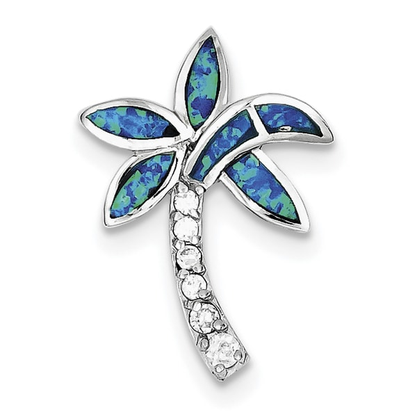 925 Sterling Silver Rhodium-plated Polished CZ Palm Tree Charm Pendant