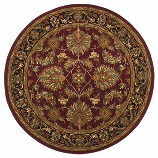 Hand-tufted Agra Burgundy and Black Wool Rug (6' Round)