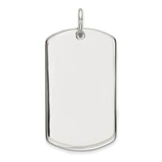 Sterling Silver Polished Dog Tag Pendant by Versil with 18 Inch Chain