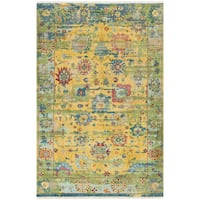 Ennoki Yellow Hand-knotted Wool Area Rug (6' x 9')