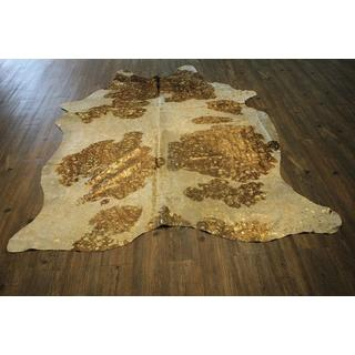 Large Gold Metallic on White and Brown 100-percent Premium Hair-on Cowhide Rug - 6' x 8'