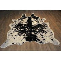 Ultra-soft Faux Cow Hide Black, Silver and Off-white Area Rug - 5' x 7'