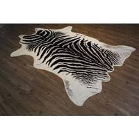 Faux Cow Hide Black, Silver and Off-white Area Rug - 5' x 7'