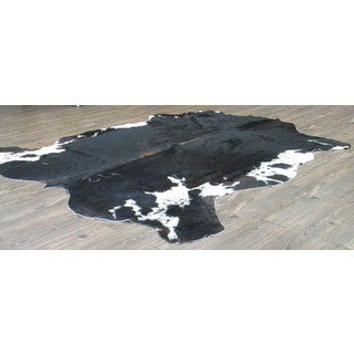 Ultra-soft Black and Off-white Real Cow Hide Rug