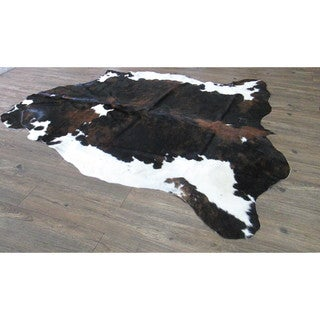 Genuine Cow Hide In Black with Brown and White - 6' x 8'