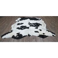 Authentic Black and Off-white Real Cow HideRug - 6' x 8'