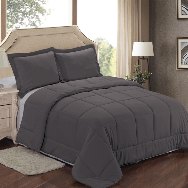 shop solid color down alternative full queen size comforter 3 piece set in navy as is item. Black Bedroom Furniture Sets. Home Design Ideas