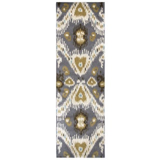 Hand-tufted Volare Grey Wool Ikat Runner Area Rug (2'6 x 8')