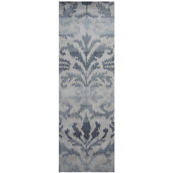 Hand-tufted Volare Grey Wool Ikat Runner Area Rug (2'6 x 8') - 2'6 x 8'