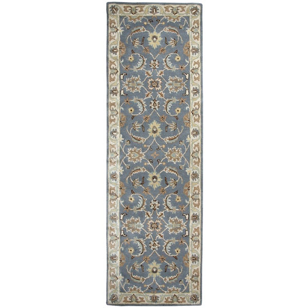 Hand-tufted Volare Blue Wool Border Runner Area Rug (2'6 x 8')