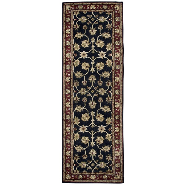 Hand-tufted Volare Black Wool Border Runner Area Rug (2'6 x 8')