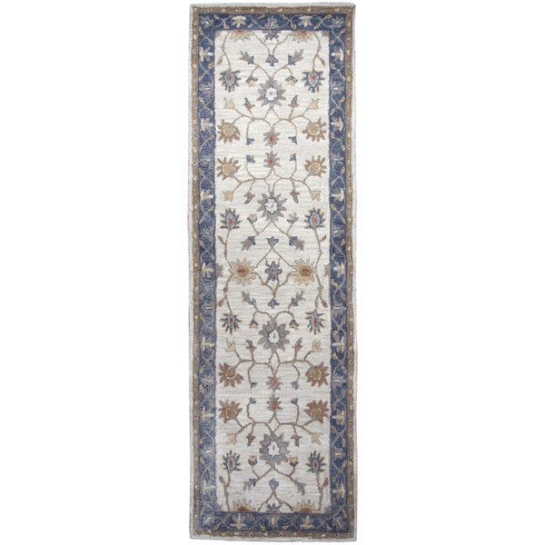 Hand-tufted Valintino Taupe Wool Border Runner Area Rug (2'6 x 8') - 2'6 x 8'