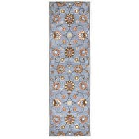 Hand-tufted Valintino Blue Wool Floral Runner Area Rug (2'6 x 8')