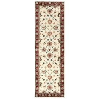 Hand-tufted Valintino Beige Wool Border Runner Area Rug (2'6 x 8')