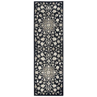 Hand-tufted Valintino Black Wool Floral Runner Area Rug (2'6 x 8')