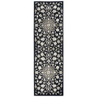 Hand-tufted Valintino Black Wool Floral Runner Rug (2'6 x 8')