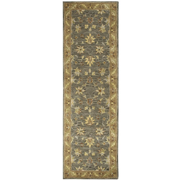 Hand-tufted Valintino Wool Border Runner Area Rug (2'6 x 8')