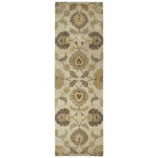 Hand-tufted Valintino Tan Wool Ornamental Runner Area Rug (2'6 x 8')