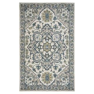 Hand-tufted Valintino Ivory/ Cream Wool Ornamental Runner Area Rug (2'6 x 8')