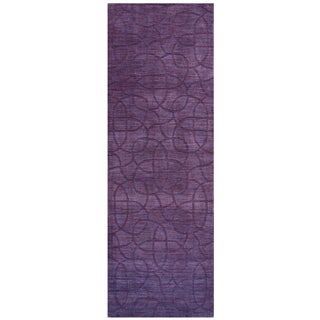Hand-loomed Uptown Purple Wool Solid Runner Area Rug (2'6 x 8')