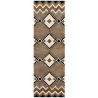 Hand-tufted Pueblo Wool Southwest/ Tribal Runner Area Rug (2'6 x 8') - 2'6 x 8'