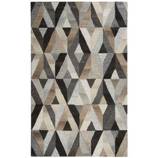 "Hand-tufted Makalu Grey Wool Geometric Runner Area Rug (2'6 x 8') - 2'6"" x 8'"
