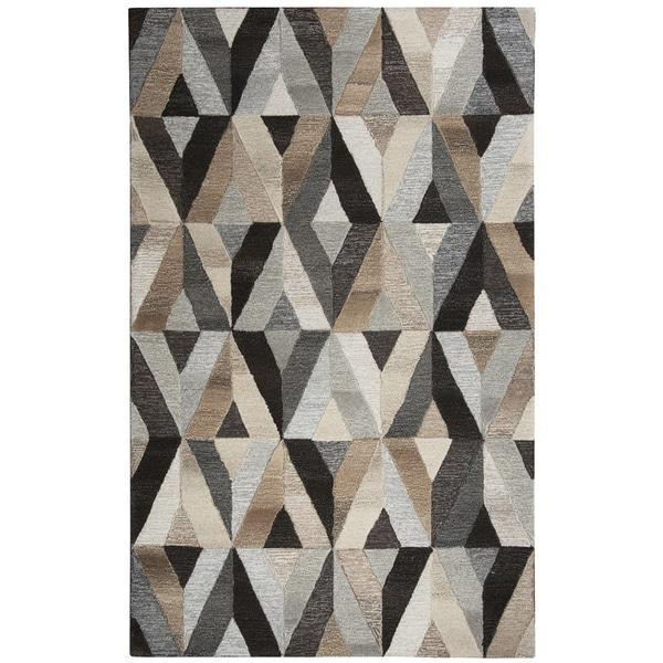 Hand-tufted Suffolk Grey Wool Geometric Runner Area Rug (2'6 x 8') - 2'6 x 8'