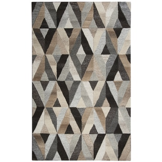 Hand-tufted Suffolk Grey Wool Geometric Runner Area Rug (2'6 x 8')