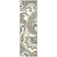 Hand-tufted Suffolk Beige Wool Paisley Runner Area Rug (2'6 x 8')