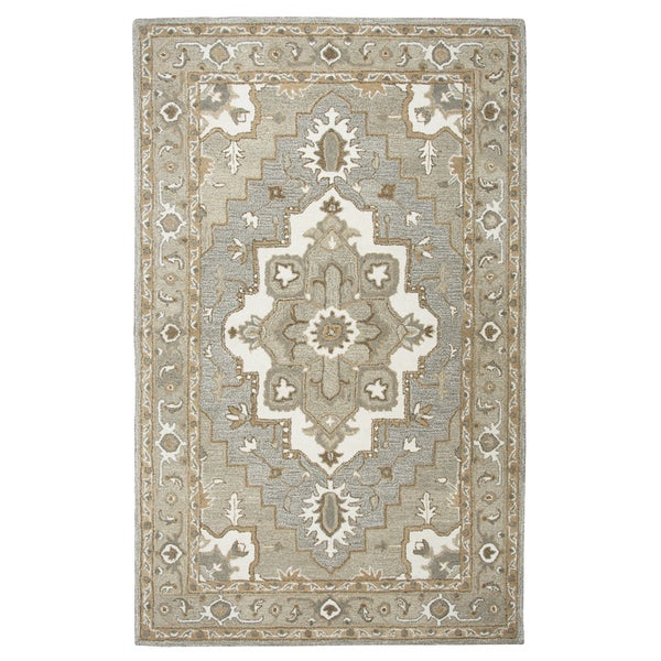 "Hand-tufted Makalu Grey Wool Oriental Medallion Runner Area Rug (2'6 x 8') - 2'6"" x 8'"