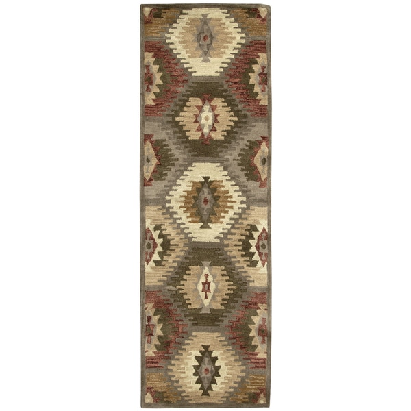 Hand-tufted Southwest Wool Southwest/ Tribal Runner Area Rug (2'6 x 8')
