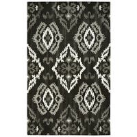 "Hand-tufted Suffolk Black Wool Medallion Ikat Runner Area Rug - 2'6"" x 8'"