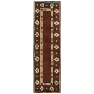 Hand-tufted Southwest Burgundy Wool Southwest/ Tribal Runner Area Rug (2'6 x 8')