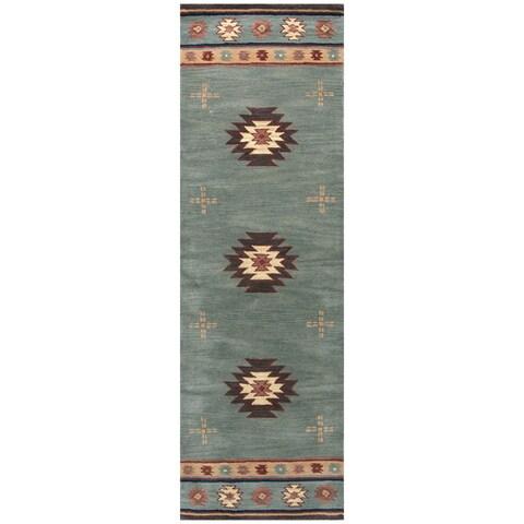 Hand-tufted Southwest Green Wool Southwest/ Tribal Runner Rug (2'6 x 8')