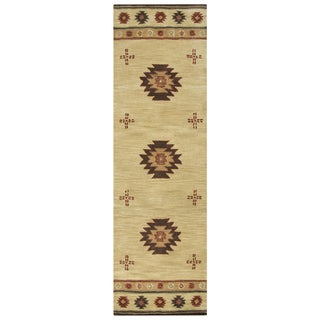 Hand-tufted Southwest Khaki Wool Southwest/ Tribal Runner Rug (2'6 x 8')