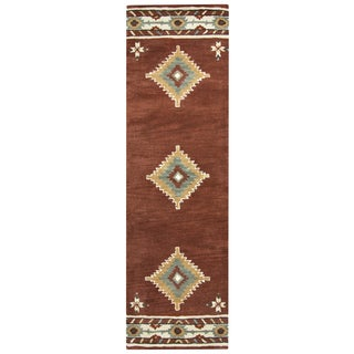 Hand-tufted Southwest Rust Wool Southwest/ Tribal Runner Area Rug (2'6 x 8')