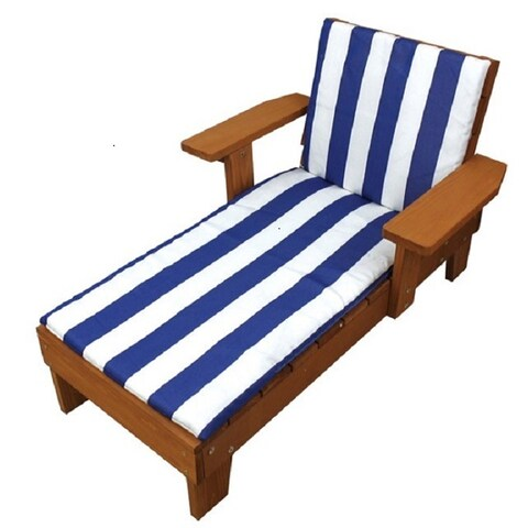 Homeware Kid's Wood Blue and White Cushion Outdoor Chaise Lounge Chair