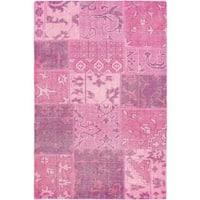ecarpetgallery Hand-Kotted Ushak Patch Pink  Wool Rug (4'1 x 6'1)
