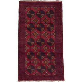 ecarpetgallery Hand-Kotted Bahor Red  Wool Rug (2'8 x 4'8)