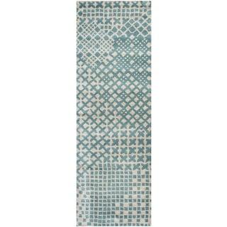 Hand-tufted Pandora Teal Wool Print Runner Area Rug (2'6 x 8')