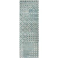 Hand-tufted Pandora Teal Wool Print Runner Rug (2'6 x 8')