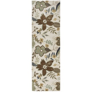 Hand-tufted Pandora Khaki Wool Floral Runner Area Rug (2'6 x 8')