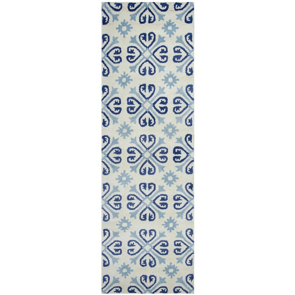 Hand-tufted Opus Off-white Wool Print Runner Area Rug (2'6 x 8')