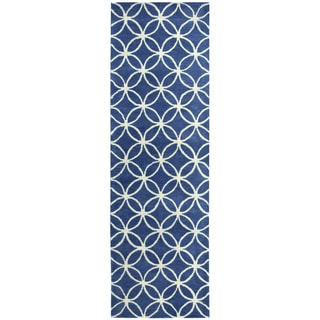 "Hand-tufted Holland Blue Wool Geometric Runner Area Rug (2'6 x 8') - 2'6"" x 8'"