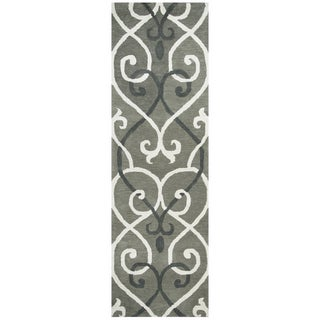 "Hand-tufted Holland Grey Wool Trellis Runner Area Rug (2'6 x 8') - 2'6"" x 8'"